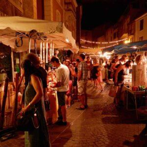 Summer evening market in Largentière
