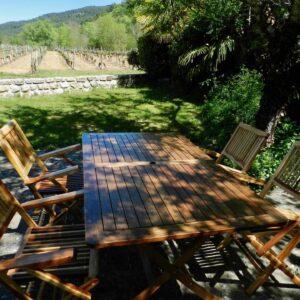 Het terras van het huisje Bergerie met buitentafel, stoelen en blik op de wijngaard