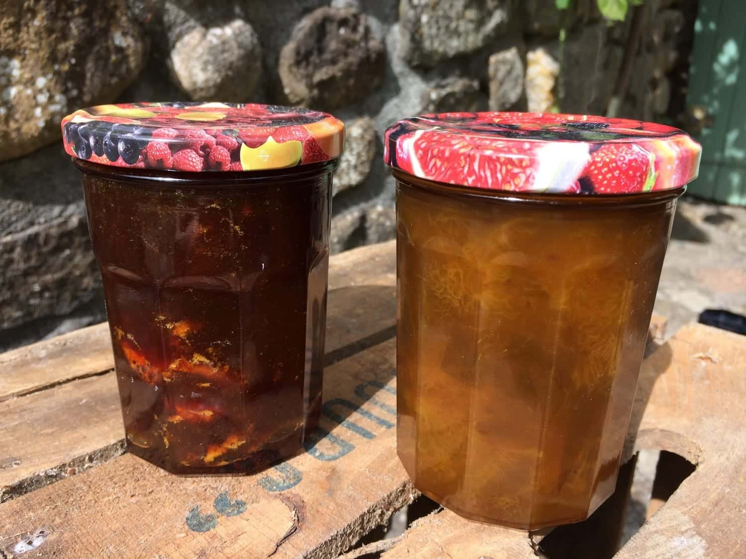Two pots of homemade jam