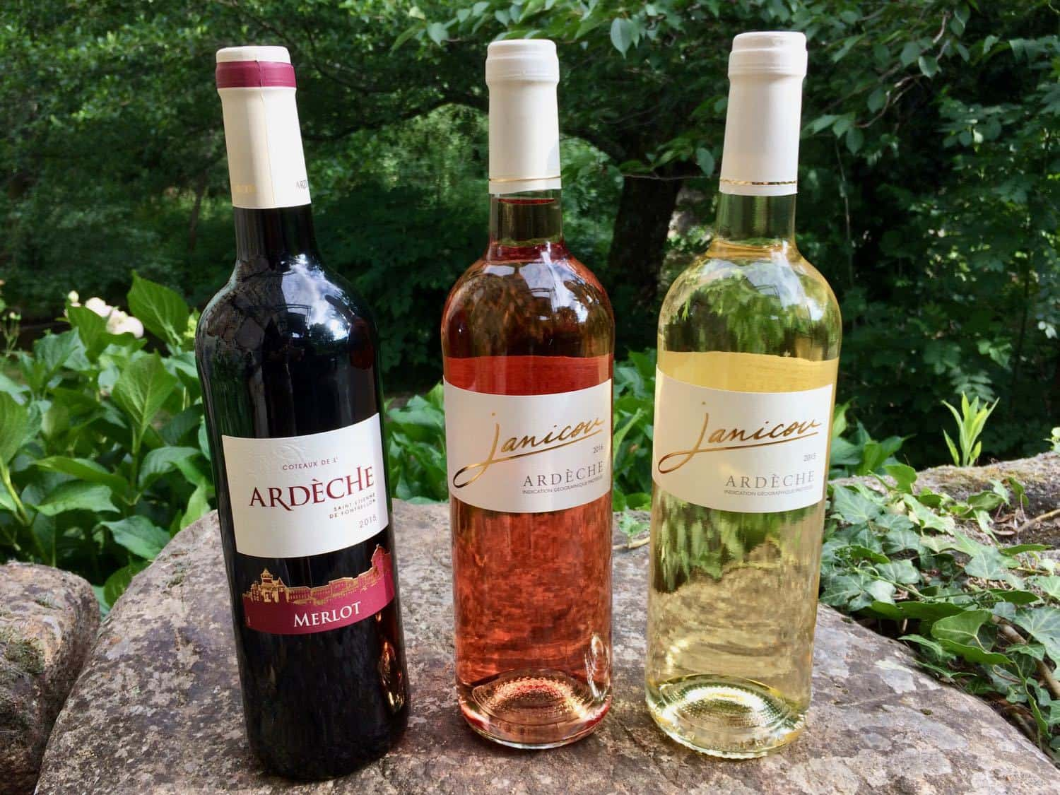 Three bottles of wine from the Ardèche: red, rosé and white whine