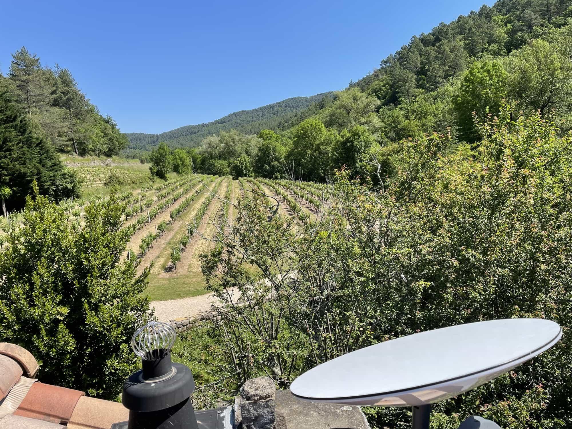 Starlink avec vue des vignes